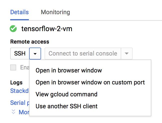 A VM instance's Remote access drop-down menu. (click to enlarge)