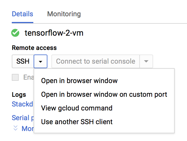 Screen shot of VM instance's Remote access drop-down. (click to enlarge)