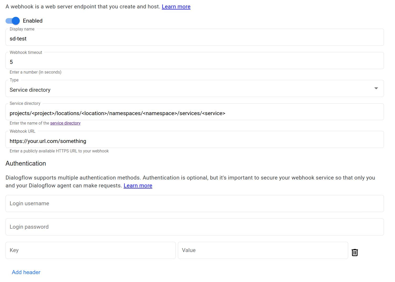 Captura de pantalla del webhook de Directorio de servicios