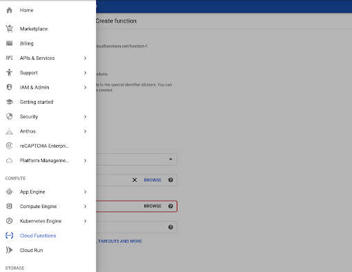 Google Cloud Console 메뉴의 Cloud 함수 스크린샷