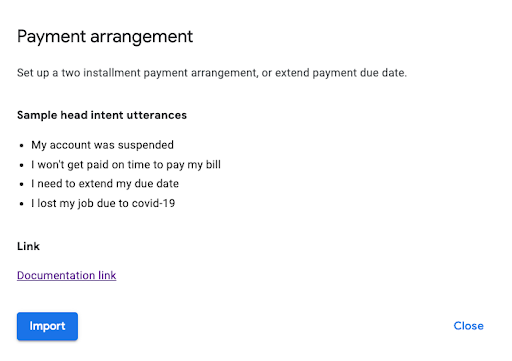 Screenshot of Payment arrangments prebuilt agent card