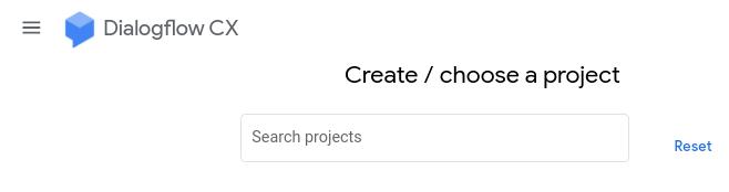 Captura de pantalla de la selección del proyecto