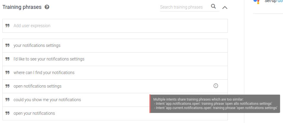 Captura de pantalla de un error de validación del agente