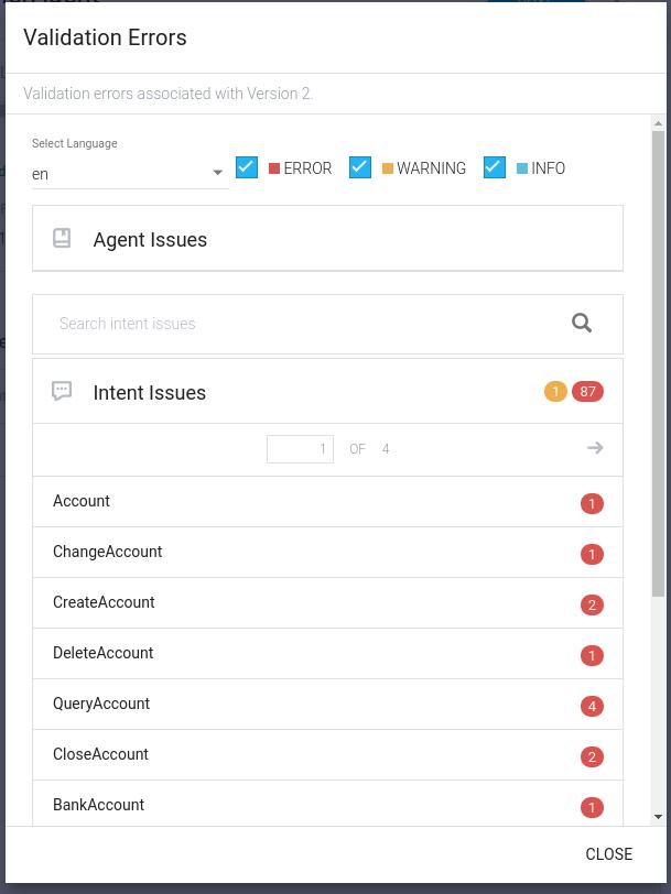 Capture d'écran d'une erreur de validation d'un agent