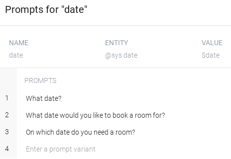 Screenshot of parameter prompts