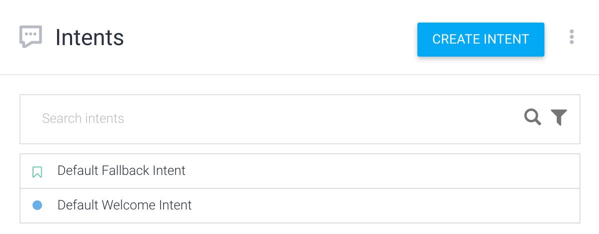 Captura de pantalla de la lista de intents