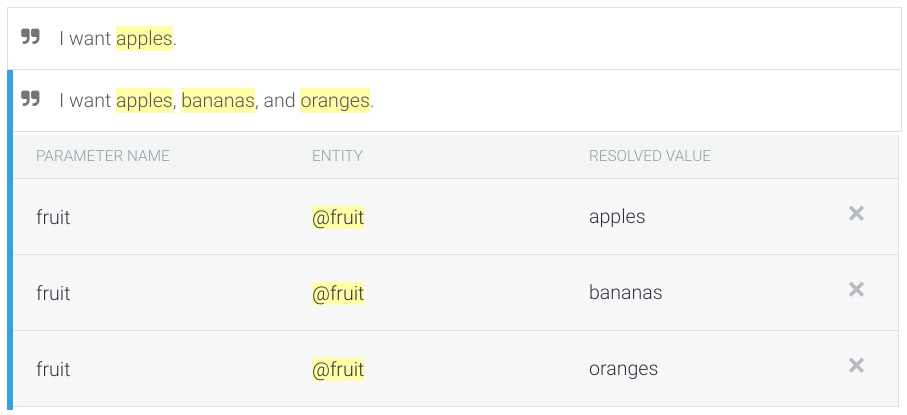 Captura de pantalla de la anotación con parámetros de lista.
