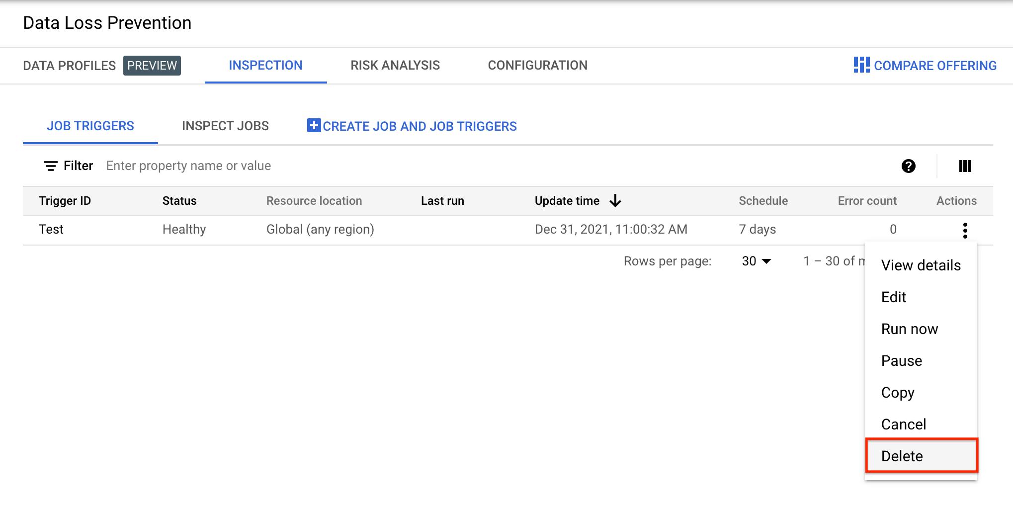 Screenshot of DLP UI job triggers listing with Actions menu open.