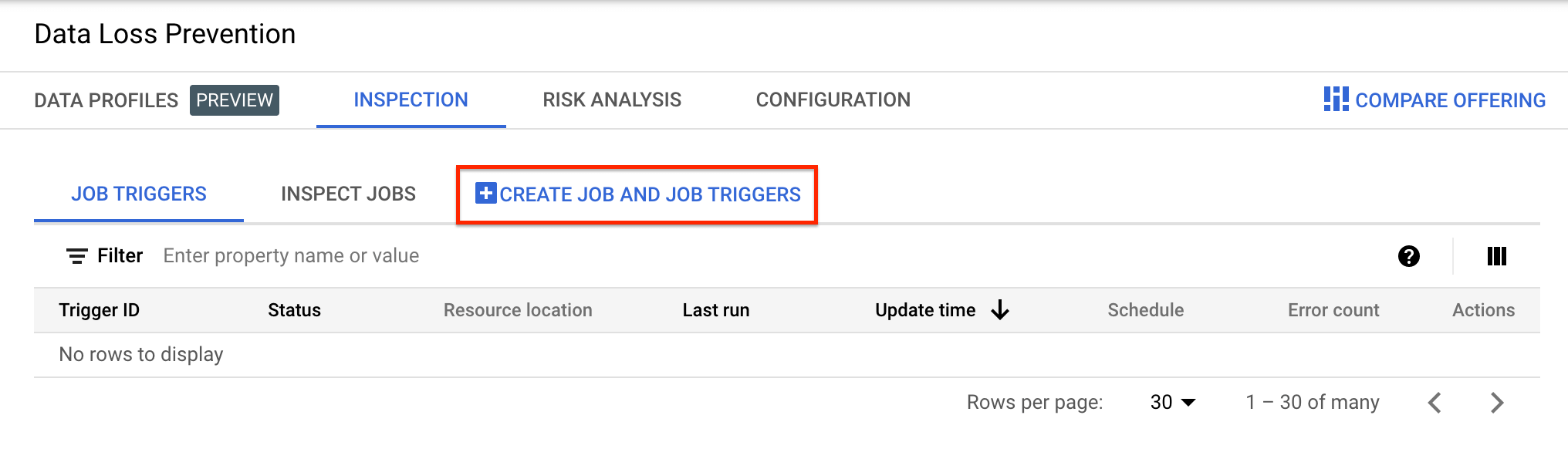 Screenshot of Create new job or job trigger menu choice.