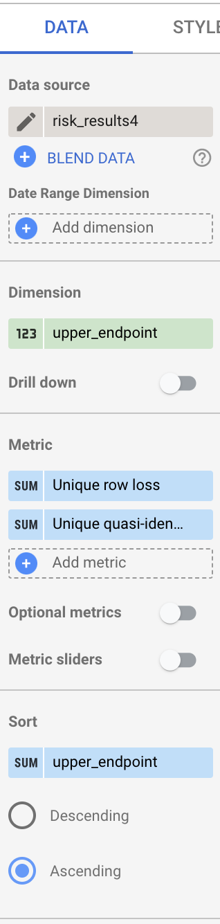 Screen shot of fields list.