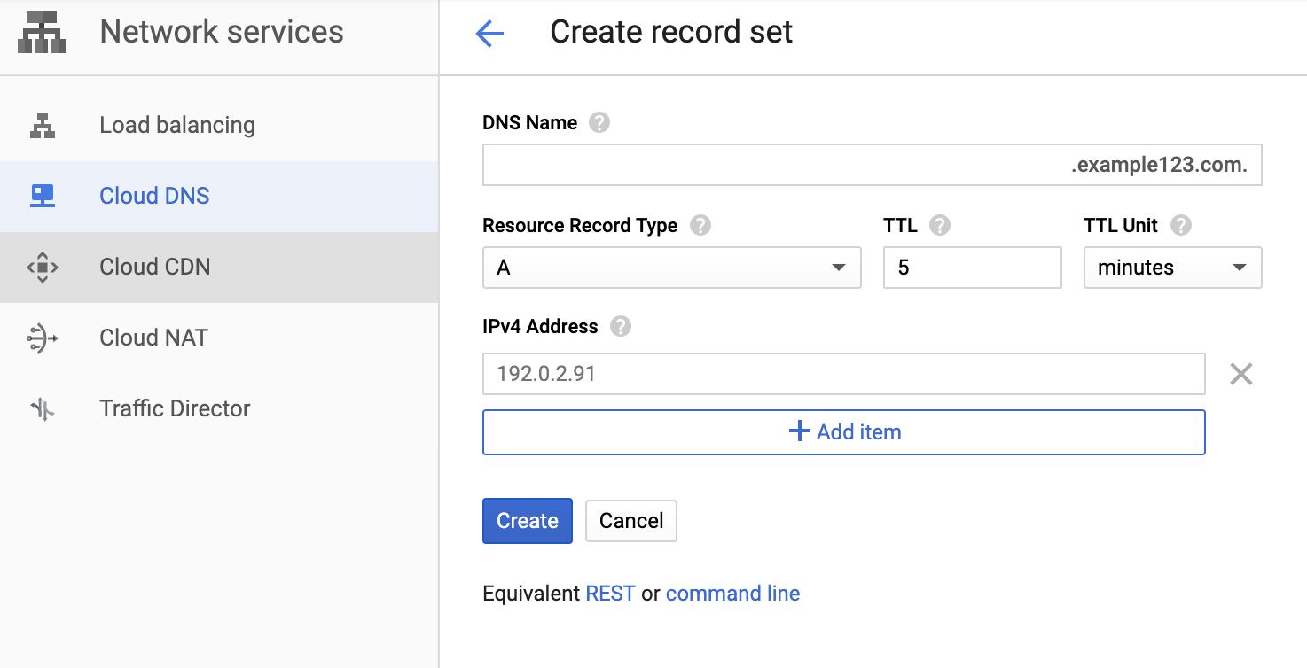 """""""创建记录集""""页面的屏幕截图,其中显示带有 IP 地址的 A 记录类型。"""