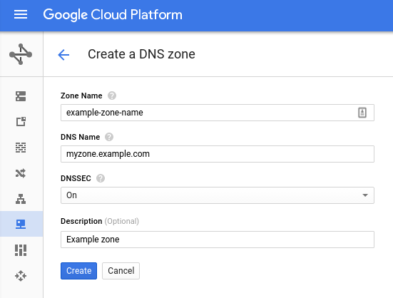 Create DNSSEC signed zone
