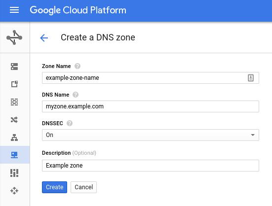 创建带有 DNSSEC 签名的地区