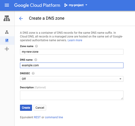 Screenshot of the Create a DNS Zone page in the GCP Console.