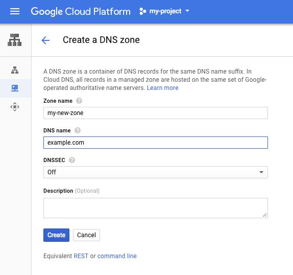 """Captura de tela da página """"Criar uma zona de DNS"""" no Console do Cloud."""