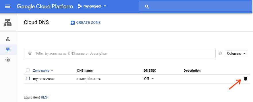 Captura de pantalla de la página Zonas de CloudDNS que destaca un ícono de la papelera a la derecha de una entrada de zona.