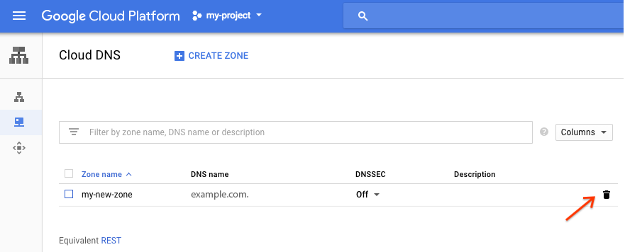 """Cloud DNS 可用区""页面的屏幕截图,其中突出显示可用区条目右侧的垃圾箱图标。"