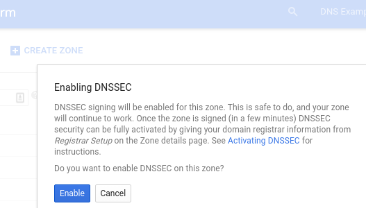 Enable DNSSEC confirmation dialog