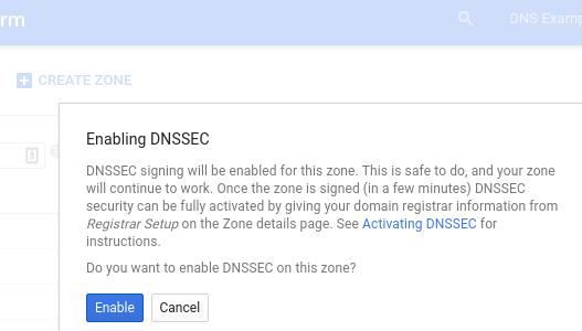 Boîte de dialogue de confirmation d'activation de DNSSEC
