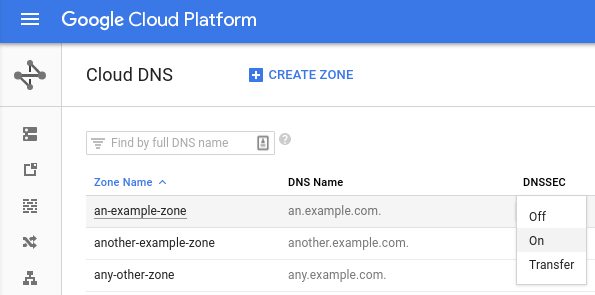 Enable DNSSEC zone pop-up