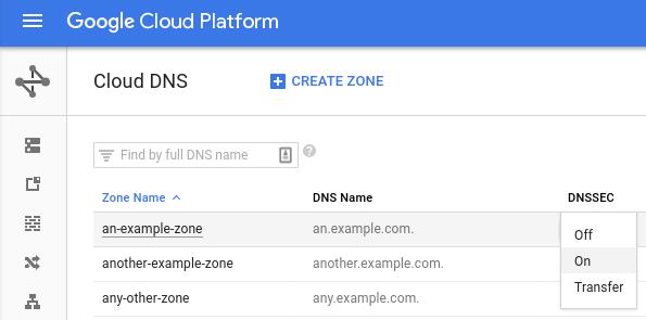 Enable DNSSEC zone menu
