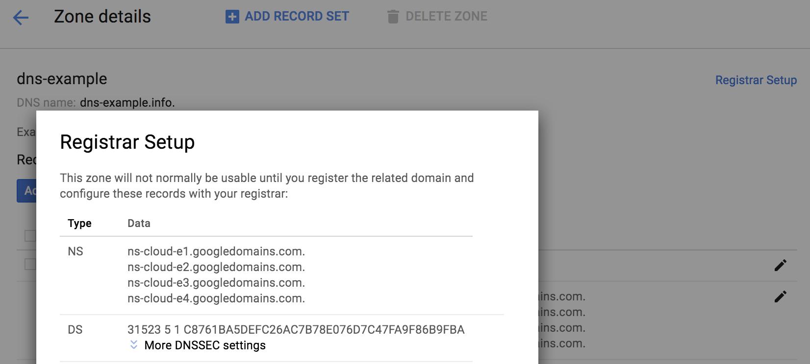 Pop-up de configuração do registrador