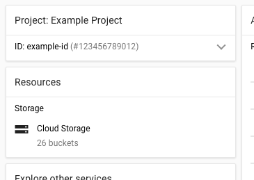 显示有项目 ID 和名称的 Cloud Console 的屏幕截图。