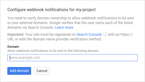 Configure webhook     notifications dialog