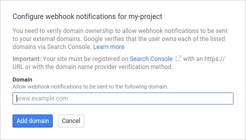 Cuadro de diálogo para configurar las notificaciones de webhook