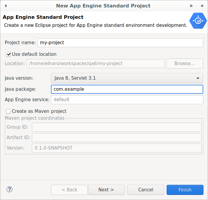 Creating an App Engine Standard Application | Cloud Tools