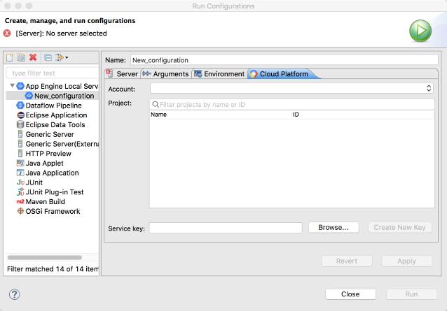 실행 구성을 구성하는 대화상자. App Engine 로컬 서버에 대한 새 실행 구성이 생성되었으며 Google Cloud Platform 탭이 열려 있습니다. Account(계정), Project(프로젝트), Service Key(서비스 키) 필드가 있습니다. 찾아보기 버튼을 사용하여 서비스 키 경로를 선택할 수 있습니다. Create New Key(새 키 만들기), Revert(되돌리기), Apply(적용), Run(실행) 버튼이 표시되지만 비활성화되어 있습니다.