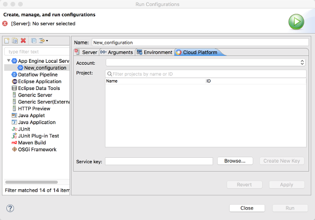 A dialog box to configure run configurations. A new run config has been created for App Engine Local Server, and the Google Cloud tab is open. A field exists for Account, Project, and Service Key. A browse button is available to select the service key path. The Create New Key, Revert, Apply, and Run buttons are shown but disabled.