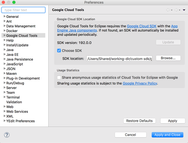 The Preferences dialog with Google Cloud Tools selected.  The dialog also shows a field for  browsing to a custom SDK, with the Choose SDK checkbox selected.