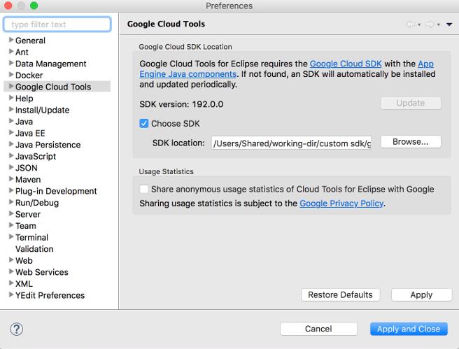 Google Cloud Tools(Google Cloud 도구)가 선택되어 있는 Preferences(환경설정) 대화상자입니다. 또한 이 대화상자에는 Choose SDK(SDK 선택) 체크박스가 선택된 상태로 커스텀 SDK를 탐색할 수 있는 필드가 표시됩니다.