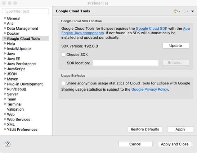 The Preferences dialog with Google Cloud Tools selected. The main area shows the version number of the SDK. The dialog also shows a field for browsing to a custom SDK, with an unselected checkbox for choosing an SDK.