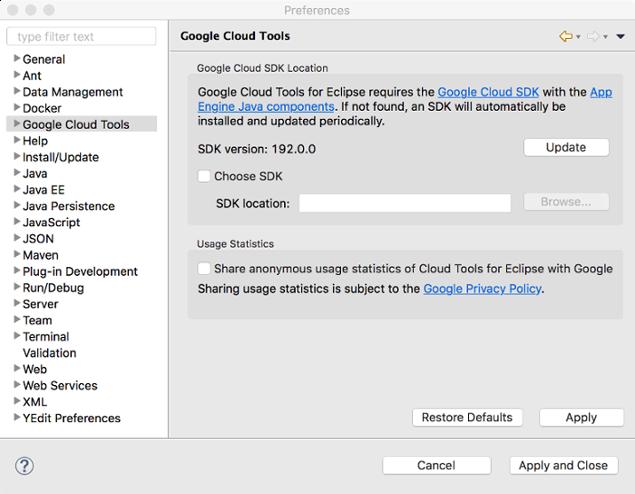 Google Cloud Tools(Google Cloud 도구)가 선택되어 있는 Preferences(환경설정) 대화상자입니다. 기본 영역에는 SDK의 버전 번호가 표시됩니다. 또한 이 대화상자에는 커스텀 SDK를 탐색할 수 있는 필드가 표시되며, SDK를 선택하기 위한 체크박스가 선택되지 않은 상태로 포함되어 있습니다.