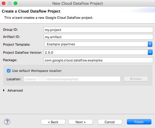 用于创建 Dataflow 项目的向导。系统提供了用于输入群组 ID、工件 ID、项目模板、Dataflow 版本、软件包名称、工作区位置和名称模板的字段;此外还提供了各种操作按钮(包括返回、移动到下一个、取消操作和完成按钮)。