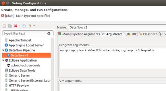 Un mensaje con la pestaña Argumentos seleccionada.En el campo Argumentos del programa, la opción --output se configura con la ubicación de etapa de pruebas que admite escritura.