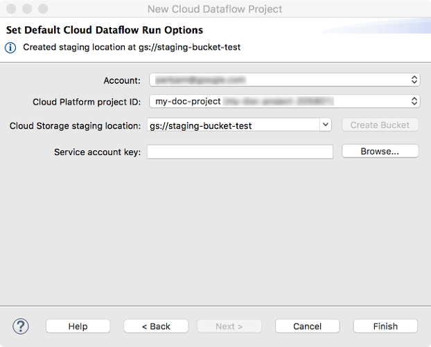 A         dialog to enter Google Cloud account, Cloud Platform ID, and         Cloud Storage Staging Location. A Create button allows you to create a new         staging location. Buttons exist to go back, advance to the next window, cancel         the operation, or finish the operation.