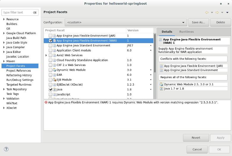 プロジェクトのファセットを選択するためのダイアログ ボックス。プロジェクトで使用可能なファセットのリストが表示されます。このスクリーンショットでは、App Engine Java フレキシブル環境(WAR)と Java ファセットが選択されています。