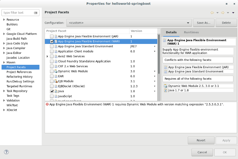 可選取專案多面向項目的對話方塊。提供了適用於專案的多面向項目清單。在螢幕擷取畫面中,選取了 [App Engine Java Flexible Environment (JAR)] (App Engine Java 靈活環境 (JAR)) 和 [Java facet] (Java 多面向項目)。