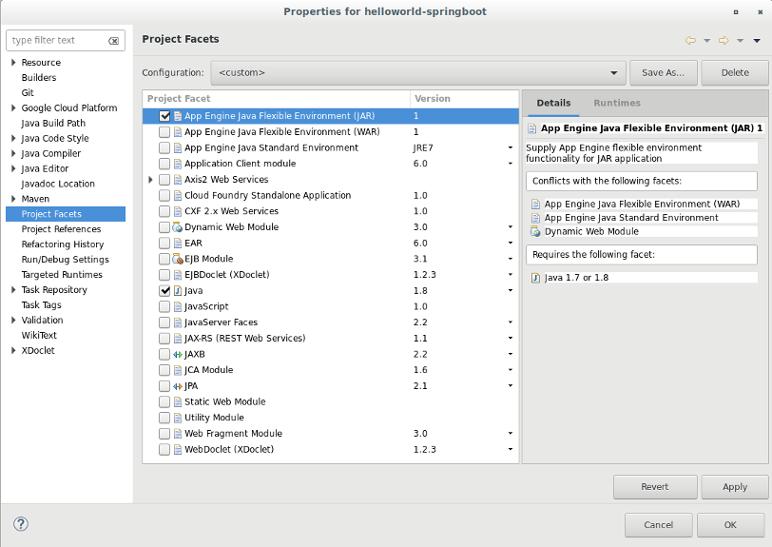 プロジェクトのファセットを選択するためのダイアログ ボックス。プロジェクトで使用可能なファセットのリストが表示されます。このスクリーンショットでは、App Engine Java フレキシブル環境(JAR)と Java ファセットが選択されています。