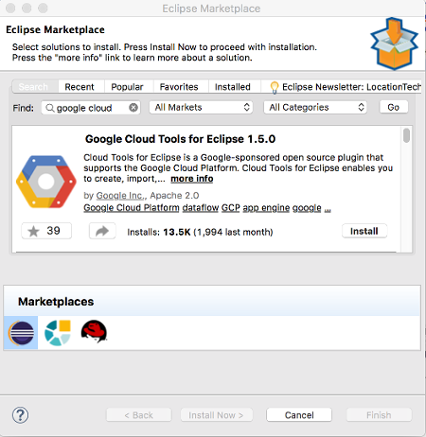 Search for Google Cloud in the Eclipse Marketplace