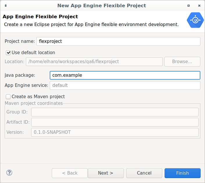 A dialog box to create a new Eclipse project for the flexible  environment. It provides a field to enter a project name. It has a checkbox  to save files in the default location or a field to enter a new location.  It provides a field to enter a name for the Java package and the App  Engine service. It provides a checkbox to create the project as a Maven  project, and fields to enter the Group ID, Artifact ID, and version.