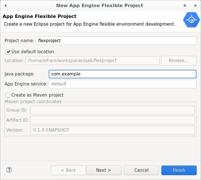 フレキシブル環境用の新しい Eclipse プロジェクトを作成するためのダイアログ ボックス。プロジェクト名を入力するためのフィールドがあります。デフォルトの場所にファイルを保存するためのチェックボックスや、新しい場所を入力するためのフィールドがあります。Java パッケージと App Engine サービスの名前を入力するフィールドがあります。Maven プロジェクトとしてプロジェクトを作成するためのチェックボックスと、グループ ID、アーティファクト ID、およびバージョンを入力するためのフィールドがあります。