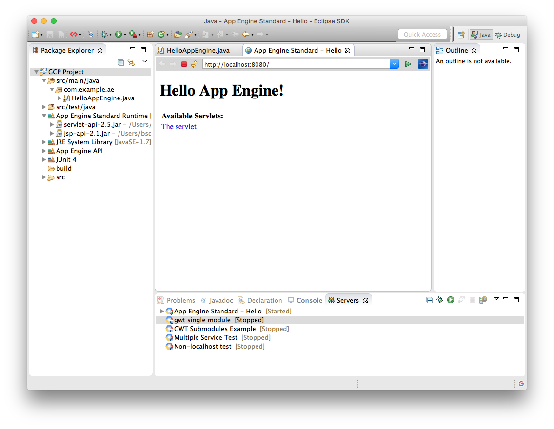 Running and Debugging an App Engine Standard Project Locally