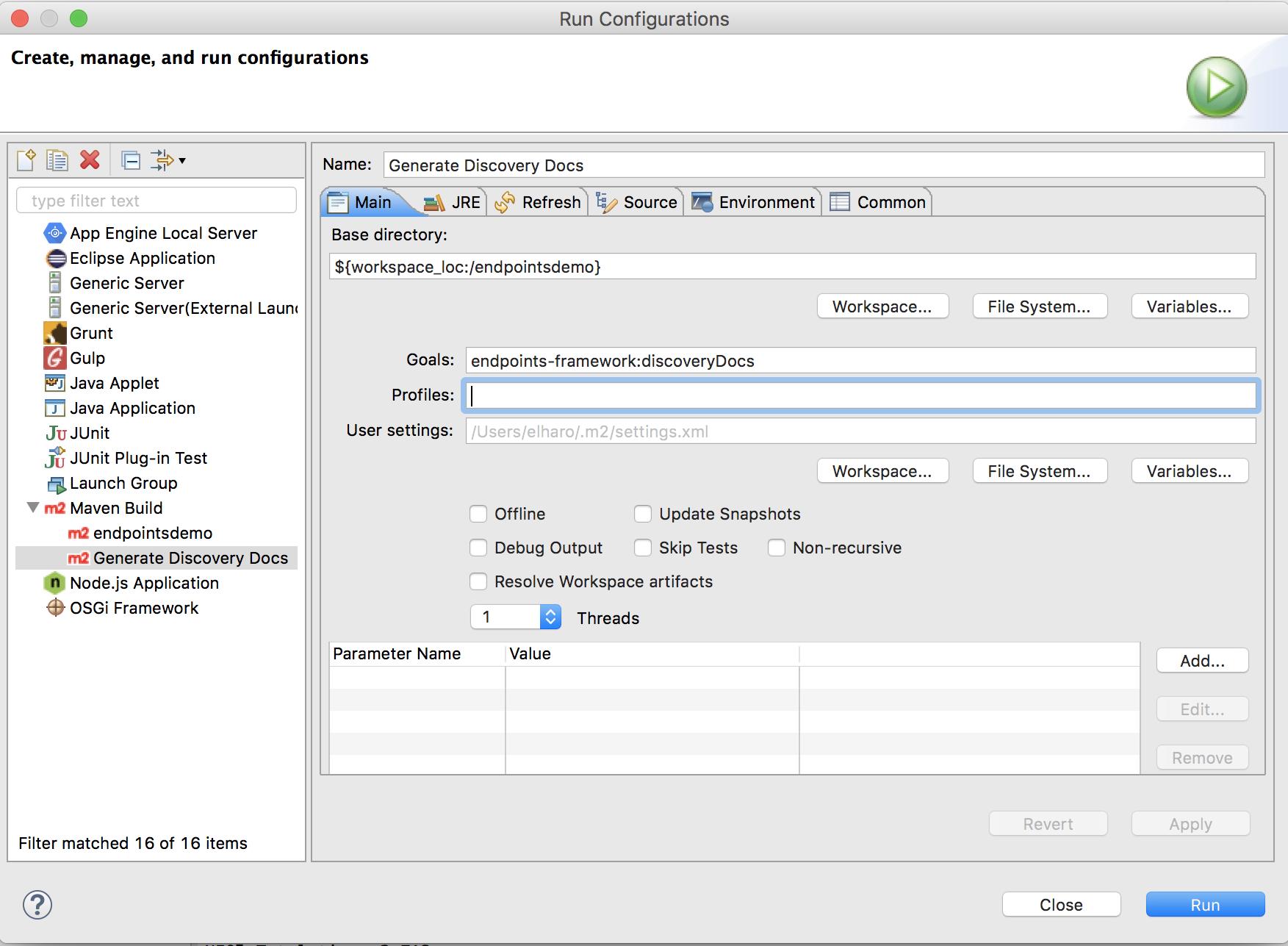 Configuração do Eclipse Maven Build