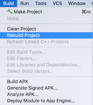 Rebuild in Android Studio