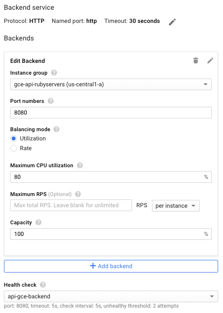 Backend configuration