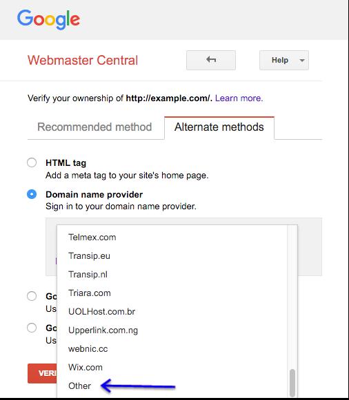 UI der Webmaster-Zentrale